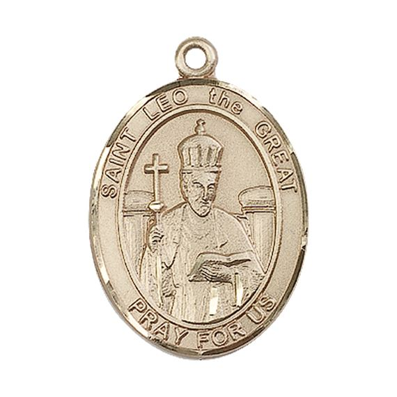 "14KT GOLD ST LEO THE GREAT MEDAL - 1"" x 3/4"""