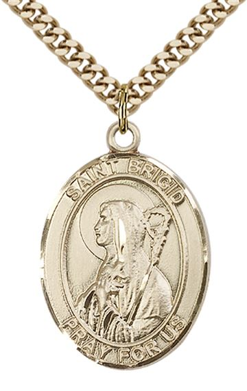 "14KT GOLD FILLED ST BRIGID OF IRELAND PENDANT WITH CHAIN - 1"" x 3/4"""