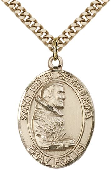 "14KT GOLD FILLED ST PIO OF PIETRELCINA PENDANT WITH CHAIN - 1"" x 3/4"""