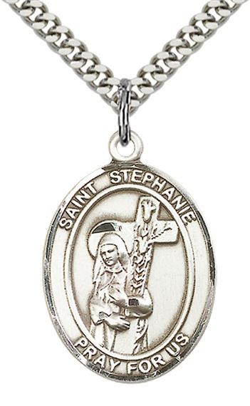 "STERLING SILVER ST STEPHANIE PENDANT WITH CHAIN - 1"" x 3/4"""