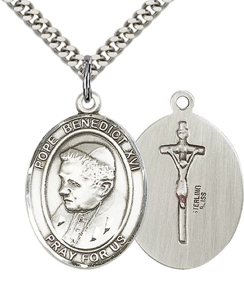 "STERLING SILVER POPE BENEDICT XVI PENDANT WITH CHAIN - 1"" x 3/4"""