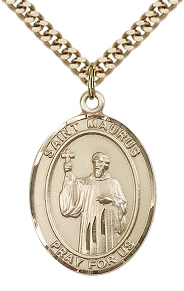 "14KT GOLD FILLED ST MAURUS PENDANT WITH CHAIN - 1"" x 3/4"""