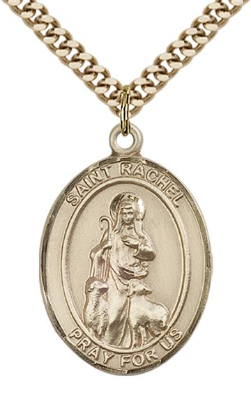 "14KT GOLD FILLED ST RACHEL PENDANT WITH CHAIN - 1"" x 3/4"""