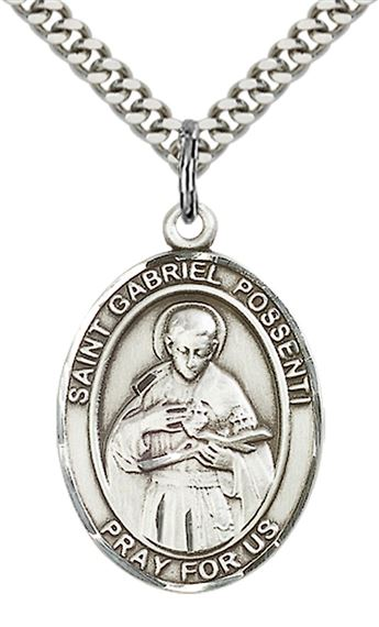 "STERLING SILVER ST GABRIEL POSSENTI PENDANT WITH CHAIN - 1"" x 3/4"""