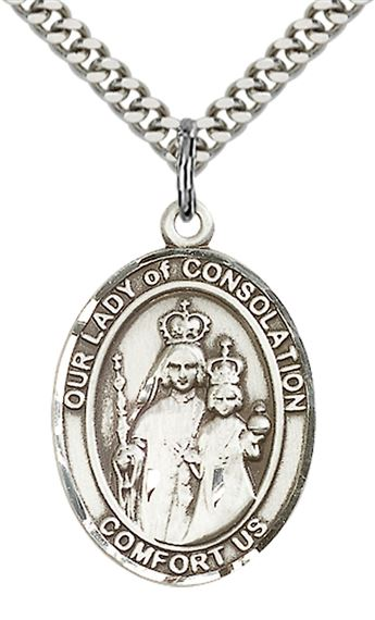 "STERLING SILVER OUR LADY OF CONSOLATION PENDANT WITH CHAIN - 1"" x 3/4"""