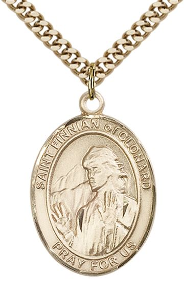 "14KT GOLD FILLED ST FINNIAN OF CLONARD PENDANT WITH CHAIN - 1"" x 3/4"""