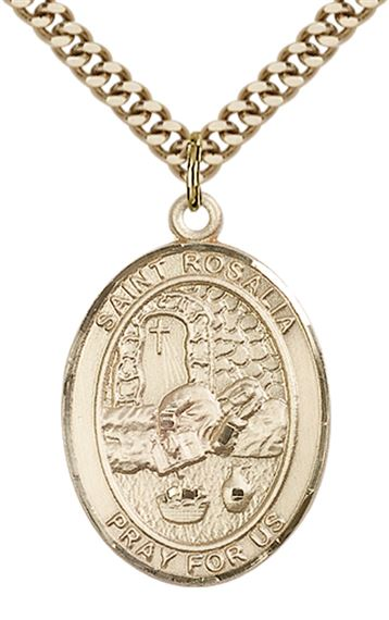 "14KT GOLD FILLED ST ROSALIA PENDANT WITH CHAIN - 1"" x 3/4"""