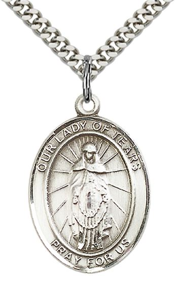 "STERLING SILVER OUR LADY OF TEARS PENDANT WITH CHAIN - 1"" x 3/4"""