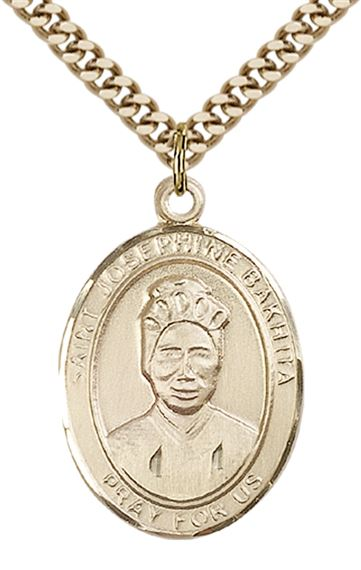 "14KT GOLD FILLED ST JOSEPHINE BAKHITA PENDANT WITH CHAIN - 1"" x 3/4"""