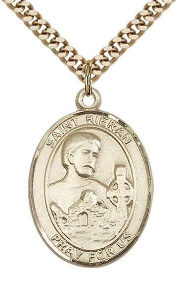 "14KT GOLD FILLED ST KIERAN PENDANT WITH CHAIN - 1"" x 3/4"""