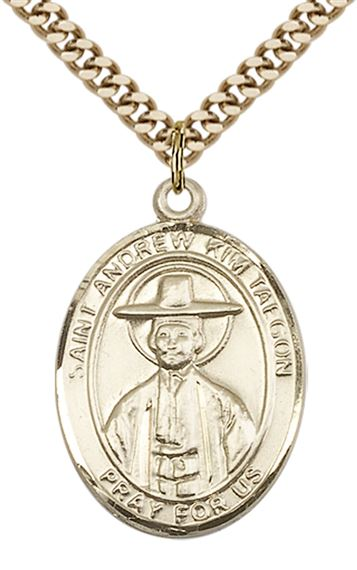 "14KT GOLD FILLED ST ANDREW KIM TAEGON PENDANT WITH CHAIN - 1"" x 3/4"""