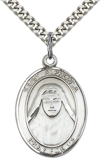 "STERLING SILVER ST ALPHONSA PENDANT WITH CHAIN - 1"" x 3/4"""