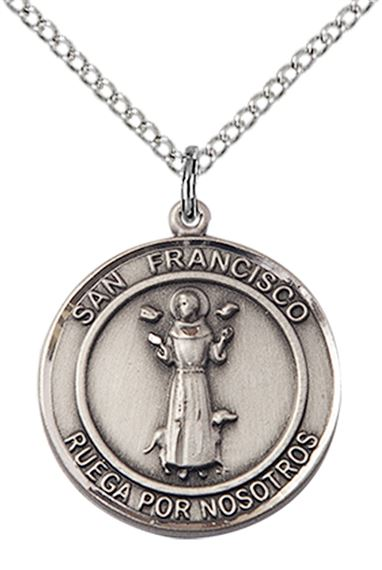 "STERLING SILVER SAN FRANCIS OF ASSISI PENDANT WITH CHAIN - 3/4"" x 5/8"""