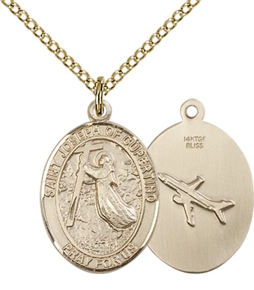 "14KT GOLD FILLED ST JOSEPH OF CUPERTINO PENDANT WITH CHAIN - 3/4"" x 1/2"""