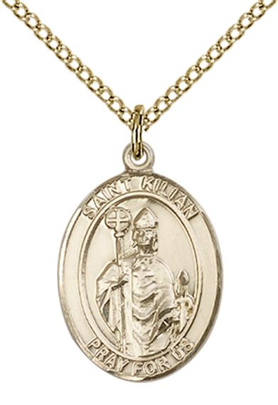 "14KT GOLD FILLED ST KILIAN PENDANT WITH CHAIN - 3/4"" x 1/2"""