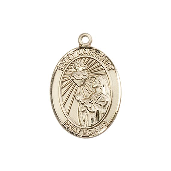 "14KT GOLD ST MARGARET MARY ALACOQUE MEDAL - 3/4"" x 1/2"""