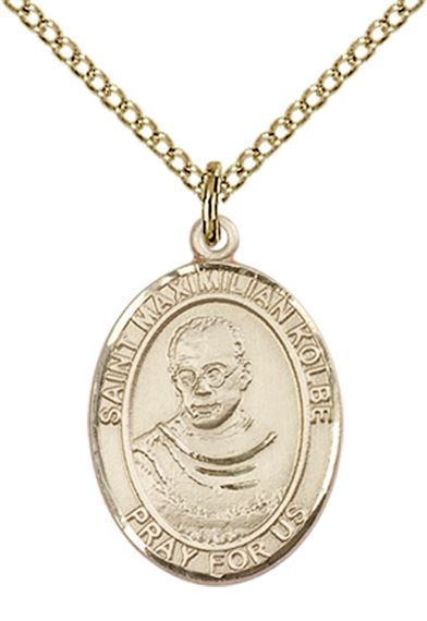 "14KT GOLD FILLED ST MAXIMILIAN KOLBE PENDANT WITH CHAIN - 3/4"" x 1/2"""