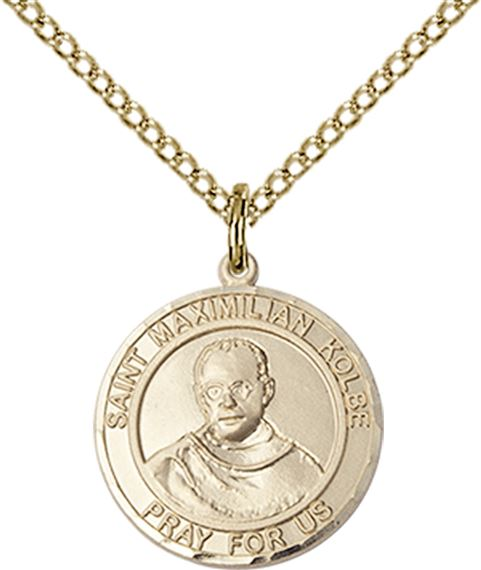 "14KT GOLD FILLED ST MAXIMILIAN KOLBE PENDANT WITH CHAIN - 3/4"" x 5/8"""