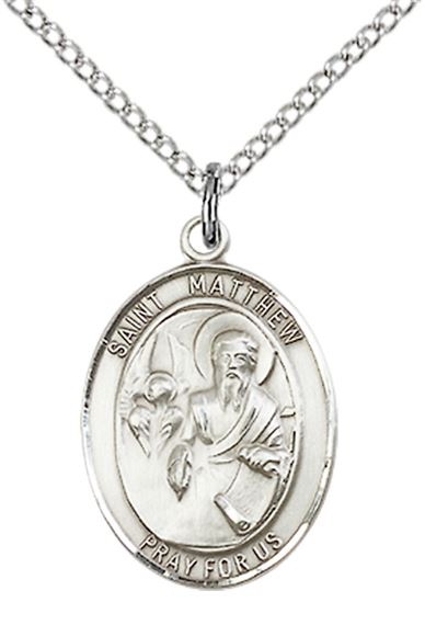"STERLING SILVER ST MATTHEW THE APOSTLE PENDANT WITH CHAIN - 3/4"" x 1/2"""