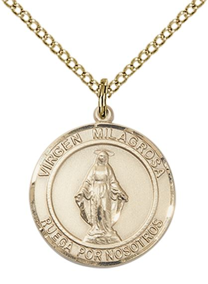 "14KT GOLD FILLED VIRGEN MILAGROSA PENDANT WITH CHAIN - 3/4"" x 5/8"""