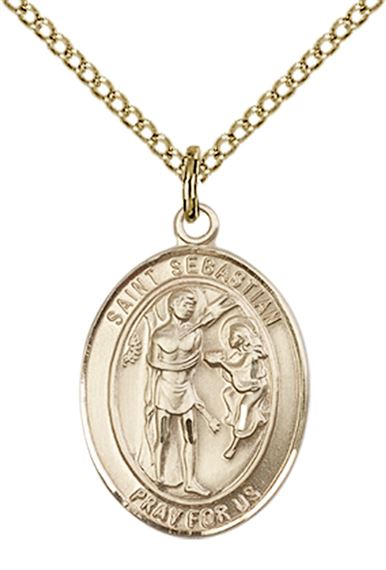 "14KT GOLD FILLED ST SEBASTIAN PENDANT WITH CHAIN - 3/4"" x 1/2"""