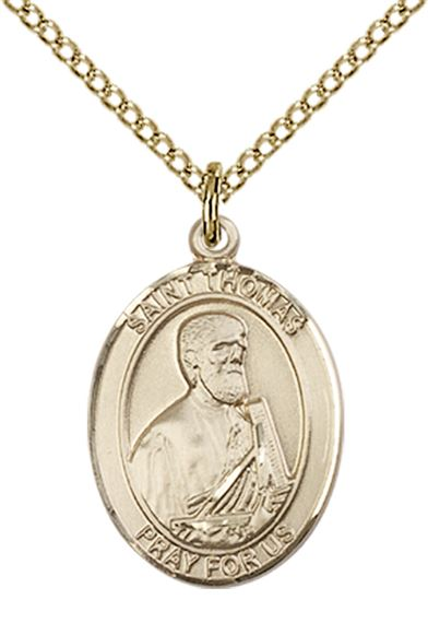 "14KT GOLD FILLED ST THOMAS THE APOSTLE PENDANT WITH CHAIN - 3/4"" x 1/2"""