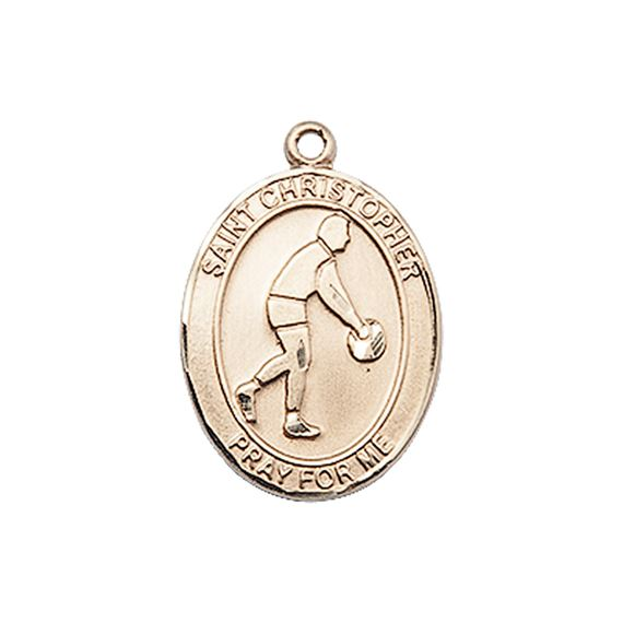"14KT GOLD ST CHRISTOPHER BASKETBALL MEDAL - 3/4"" x 1/2"""