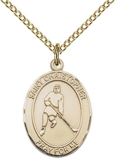 "14KT GOLD FILLED ST CHRISTOPHER ICE HOCKEY MEDAL - 3/4"" x 1/2"""