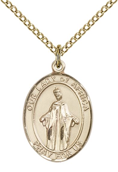 "14KT GOLD FILLED OUR LADY OF AFRICA PENDANT WITH CHAIN - 3/4"" x 1/2"""