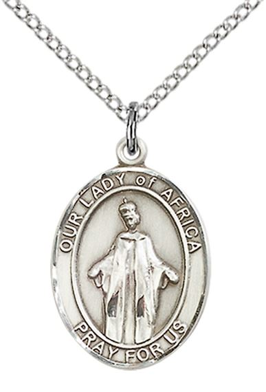 "STERLING SILVER OUR LADY OF AFRICA PENDANT WITH CHAIN - 3/4"" x 1/2"""