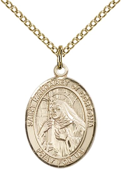 "14KT GOLD FILLED ST MARGARET OF CORTONA PENDANT WITH CHAIN - 3/4"" x 1/2"""