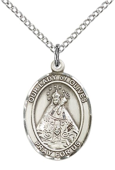 "STERLING SILVER OUR LADY OF OLIVES PENDANT WITH CHAIN - 3/4"" x 1/2"""