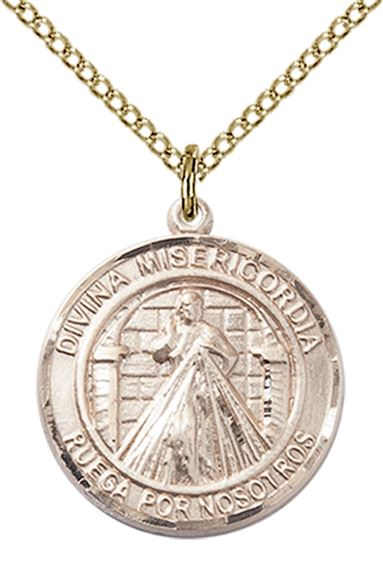 14KT GOLD FILLED DIVINA MISERICORDIA PENDANT WITH CHAIN