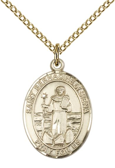 "14KT GOLD FILLED ST BERNADINE OF SIENNA PENDANT WITH CHAIN - 3/4"" x 1/2"""