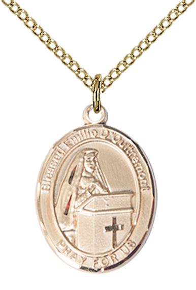 "14KT GOLD FILLED BLESSED EMILEE DOULTREMONT PENDANT WITH CHAIN - 3/4"" x 1/2"""