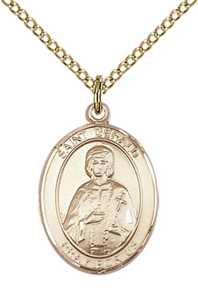 "14KT GOLD FILLED ST GERALD PENDANT WITH CHAIN - 3/4"" x 1/2"""