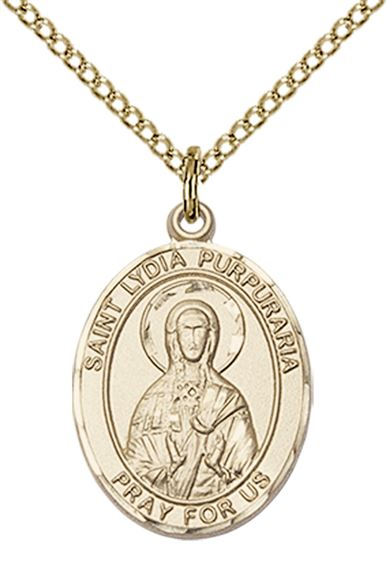 "14KT GOLD FILLED ST LYDIA PURPURARIA PENDANT WITH CHAIN - 3/4"" x 1/2"""