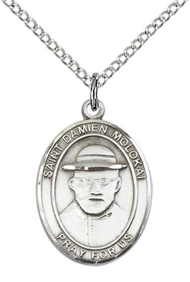 "STERLING SILVER ST DAMIEN OF MOLOKAI PENDANT WITH CHAIN - 3/4"" x 1/2"""