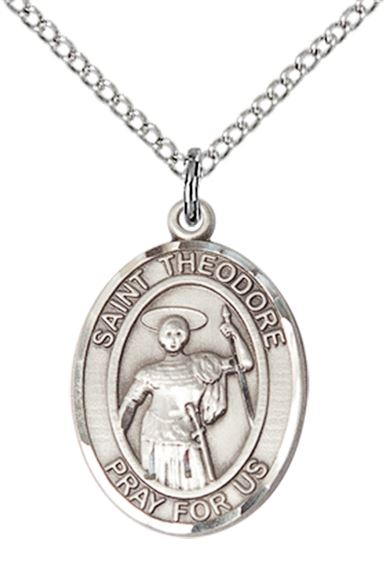 "STERLING SILVER ST THEODORE STRATELATES PENDANT WITH CHAIN - 3/4"" x 1/2"""