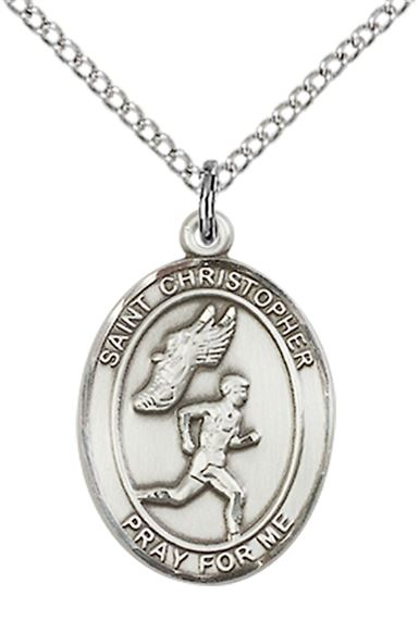 "STERLING SILVER ST CHRISTOPHER-TRACK & FIELD-MEN PENDANT WITH CHAIN - 3/4"" x 1/2"""