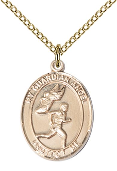 "14KT GOLD FILLED GUARDIAN ANGEL TRACK&FIELD-MEN PENDANT WITH CHAIN - 3/4"" x 1/2"""