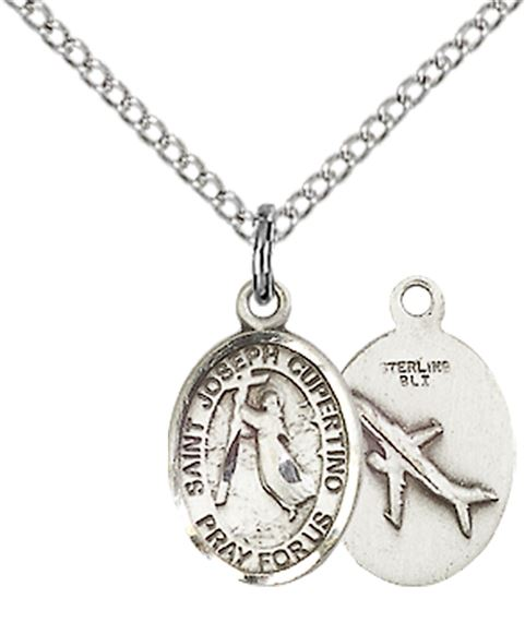 "STERLING SILVER ST JOSEPH OF CUPERTINO PENDANT WITH CHAIN - 1/2"" x 1/4"""