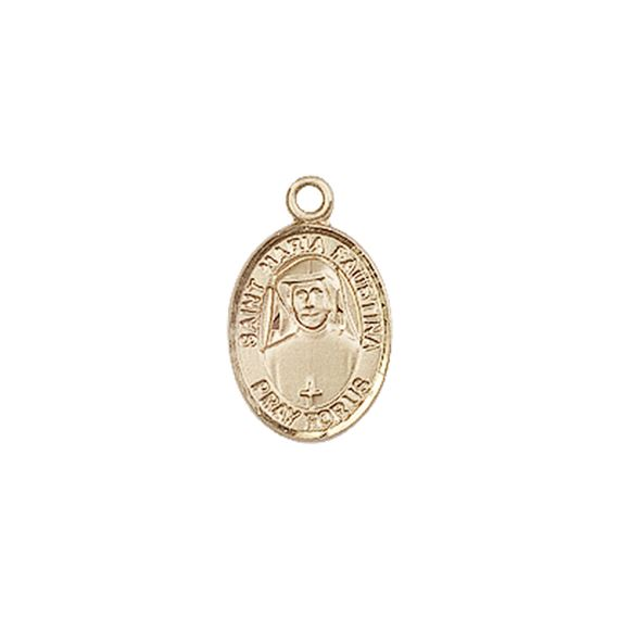 "14KT GOLD ST MARIA FAUSTINA MEDAL - 1/2"" x 1/4"""