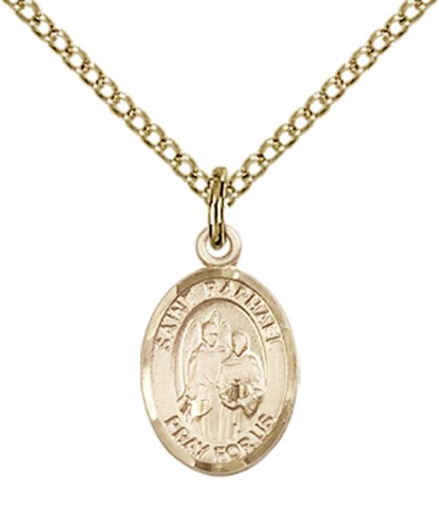 "14KT GOLD FILLED ST RAPHAEL THE ARCHANGEL PENDANT WITH CHAIN - 1/2"" x 1/4"""