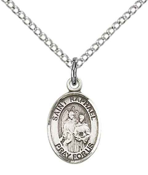 "STERLING SILVER ST RAPHAEL THE ARCHANGEL PENDANT WITH CHAIN - 1/2"" x 1/4"""
