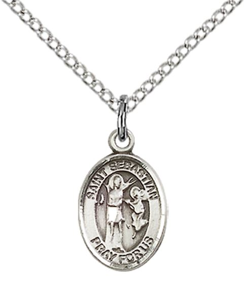"STERLING SILVER ST SEBASTIAN PENDANT WITH CHAIN - 1/2"" x 1/4"""