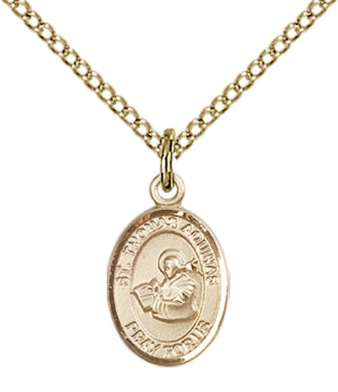 "14KT GOLD FILLED ST THOMAS AQUINAS PENDANT WITH CHAIN - 1/2"" x 1/4"""