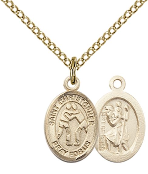 "14KT GOLD FILLED ST CHRISTOPHER-WRESTLING PENDANT WITH CHAIN - 1/2"" x 1/4"""