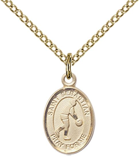 "14KT GOLD FILLED ST SEBASTIAN-BASKETBALL PENDANT WITH CHAIN - 1/2"" x 1/4"""
