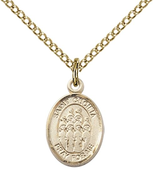 "14KT GOLD FILLED ST CECILIA-CHOIR PENDANT WITH CHAIN - 1/2"" x 1/4"""